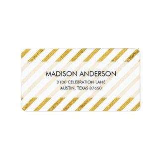 Gold Foil and White Diagonal Stripes Pattern Label
