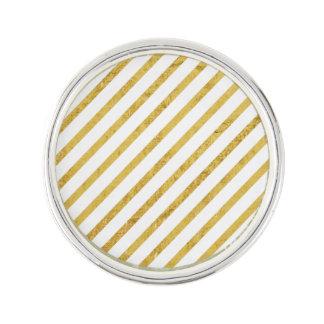 Gold Foil and White Diagonal Stripes Pattern Lapel Pin