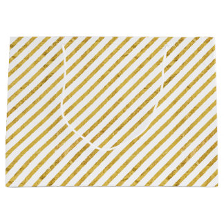 Gold Foil and White Diagonal Stripes Pattern Large Gift Bag