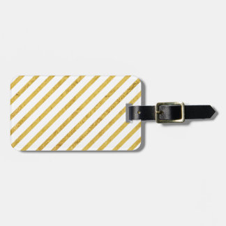 Gold Foil and White Diagonal Stripes Pattern Luggage Tag