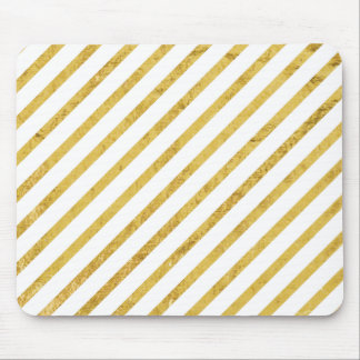 Gold Foil and White Diagonal Stripes Pattern Mouse Pad