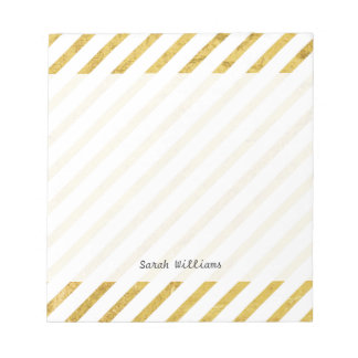 Gold Foil and White Diagonal Stripes Pattern Notepad