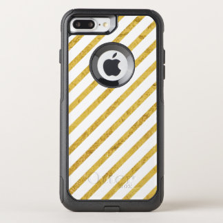 Gold Foil and White Diagonal Stripes Pattern OtterBox Commuter iPhone 8 Plus/7 Plus Case