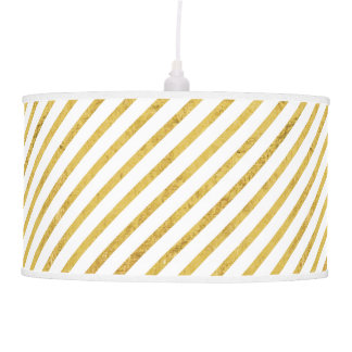 Gold Foil and White Diagonal Stripes Pattern Pendant Lamp