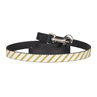 Gold Foil and White Diagonal Stripes Pattern Pet Leash