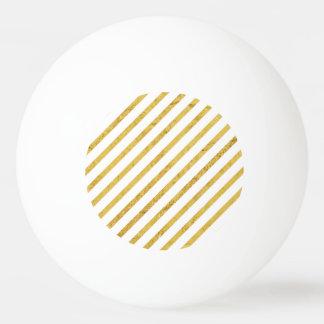 Gold Foil and White Diagonal Stripes Pattern Ping Pong Ball