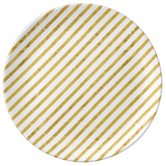 Gold Foil and White Diagonal Stripes Pattern Plate