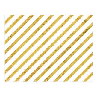 Gold Foil and White Diagonal Stripes Pattern Postcard