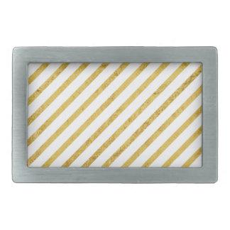 Gold Foil and White Diagonal Stripes Pattern Rectangular Belt Buckles