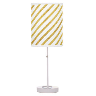 Gold Foil and White Diagonal Stripes Pattern Table Lamp