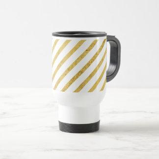 Gold Foil and White Diagonal Stripes Pattern Travel Mug