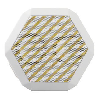 Gold Foil and White Diagonal Stripes Pattern White Bluetooth Speaker