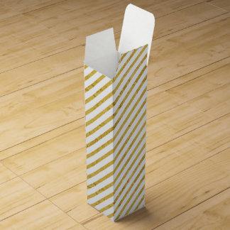 Gold Foil and White Diagonal Stripes Pattern Wine Boxes