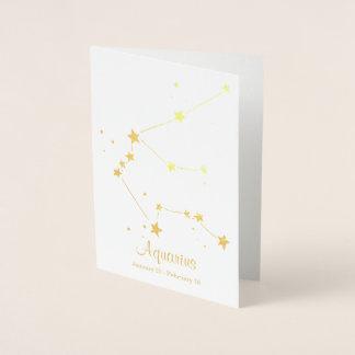 Gold Foil Aquarius Zodiac Sign Constellation Foil Card