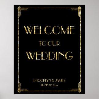Gold Foil Art Deco Wedding Reception Sign 24x30 Poster