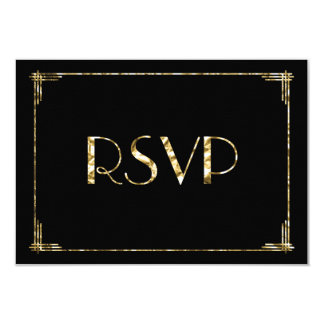 Gold Foil Art Deco Wedding RSVP Cards Black