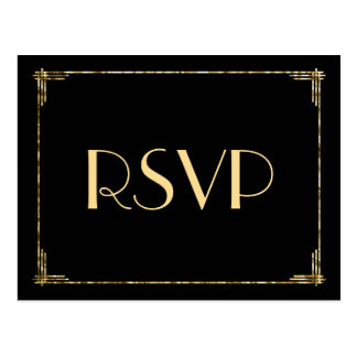 Gold Foil Art Deco Wedding RSVP Postcards