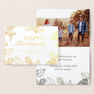 Gold Foil Autumn Leaves Happy Thanksgiving Day Foil Card