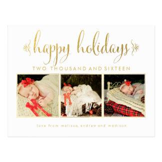 Gold Foil Babies 1st Christmas Photo Postcard