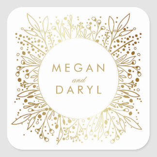 Gold Foil Baby's Breath Floral Wedding Square Sticker