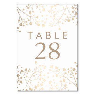 Gold Foil Baby's Breath Wedding Table Numbers