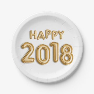 Gold Foil Balloons Happy 2018 | New Year Eve Party Paper Plate