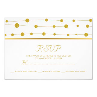 Gold foil beads and stripe modern wedding RSVP Card