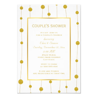 Gold foil beads modern wedding couple's shower card