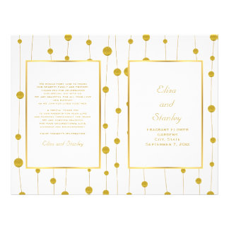 Gold foil beads modern wedding folded program flyer