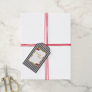 Gold foil black and white stripe rose floral tags
