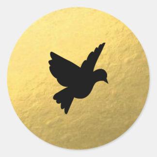 Gold Foil Black Love Bird Sticker