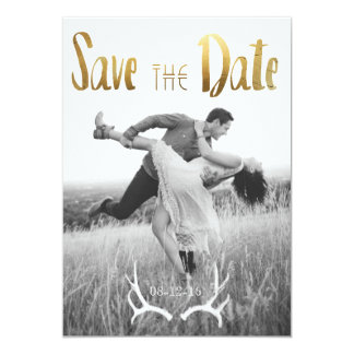 """Gold Foil Bohemian Glamour   Photo Save the Date 5"""" X 7"""" Invitation Card"""