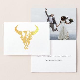 Gold Foil BOHO Thank You Wedding Card
