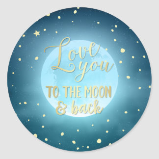 Gold Foil Calligraphy Starry Night Sky Wedding Classic Round Sticker