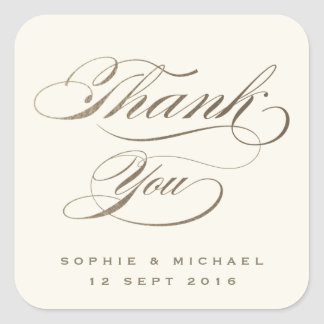 Gold foil calligraphy wedding thank you sticker