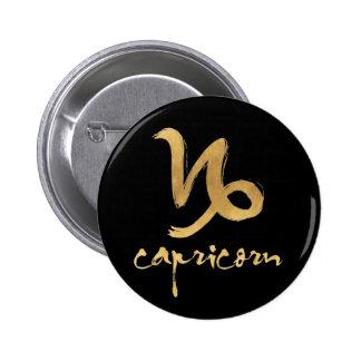 Gold Foil Capricorn Zodiac Symbol 2 Inch Round Button