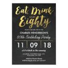 GOLD FOIL CHALKBOARD EIGHTY BIRTHDAY PARTY | 80TH CARD