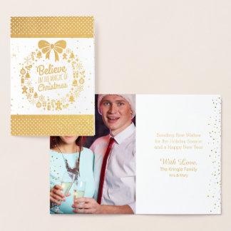 Gold Foil Christmas Holiday Wreath Photo Foil Card