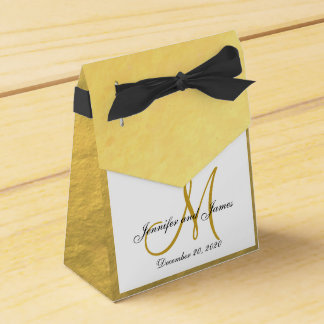 Gold Foil Colored Monogram Wedding Favor Box