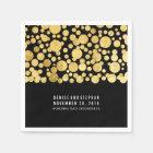 gold foil confetti black wedding paper napkin
