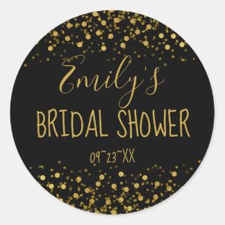 Gold Foil Confetti Bridal Shower ID455 Classic Round Sticker
