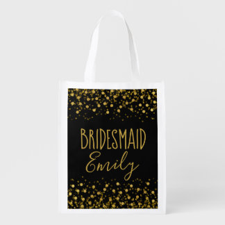 Gold Foil Confetti Bridesmaid Name ID455 Reusable Grocery Bag