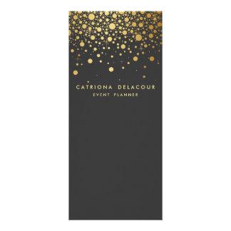 Gold Foil Confetti Business Rack Card Dark Gray