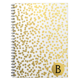 Gold Foil Confetti Dots Glam Modern Monogram Notebook