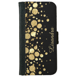 Gold Foil Confetti On Black -  iPhone 6 iPhone 6 Wallet Case