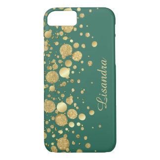 Gold Foil Confetti On Green iPhone 7 Case