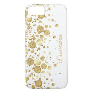 Gold Foil Confetti On White iPhone 7 Case