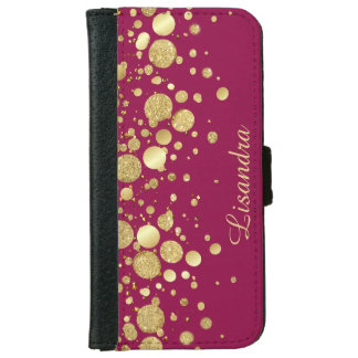 Gold Foil Confetti On Wine Pink - iPhone 6 iPhone 6 Wallet Case