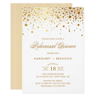 Gold Foil Confetti Rehearsal Dinner Invitation