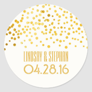 Gold Foil Confetti Wedding Classic Round Sticker